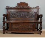 Antique Victorian Oak Settle, Monks Bench, Hall Seat