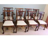 Set Eight Antique Chippendale Style Mahogany Dining Chairs, London,