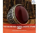 Turkish 925 Silver Ring with Red Aqeeq (Agate) Stone