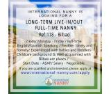 Long term live in/out full time Nanny Required