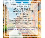 REQUIREMENT OF LONG-TERM LIVE-IN NANNY/HOUSEKEEPER IN Empuria Brava (Girona)