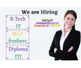 Btech IT MCA Diploma ITI Fresher Opening in Noida Haridwar and Rudrapur