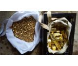 Gold bars , nuggets and dust for sale .