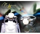 Pure Silver Ring With euro cubic zircon & pearl