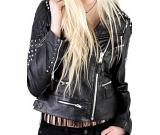 Black Ladies Stud Jacket