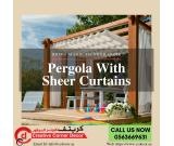 Wooden Pergola With Sheer Curtains in Dubai