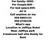 SHARING 2-BEDROOMS HALL VILLA FOR LADY BED SPACE COUPLE ARE FAMILY JAFFILYA